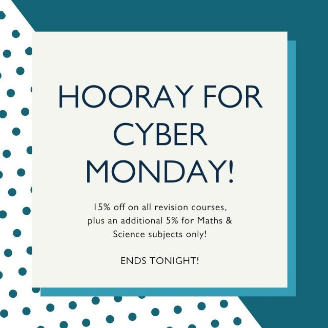 HOORAY FOR CYBER MONDAY! 🎉  Today is the last day to take advantage of this sale!   If you're looking to book, now is the time! We are offering 15% off on ALL revision courses, plus an ADDITIONAL 5% for Maths and Science subjects only! ⭐️  OFFER ENDS TONIGHT! ✨  #cybermonday #cybermonday2020 #tuition #onlinetuition #revisioncourses #revision #revisiontips #learning #onlineclasses #smallgrouptuition #guaranteedtuition #holidayrevisionclasses